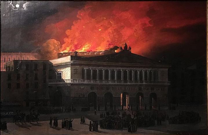 Salvatore Fergola Incendio del Real Teatro San Carlo di Napoli